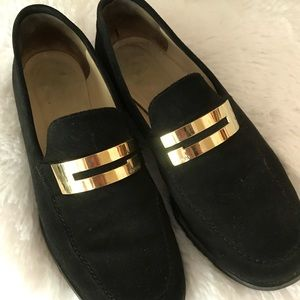Gucci Black Suede Gold logo Detail Loafers